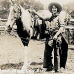 Cow-girl et son cheval à Bigspring au Texas en 1936.
